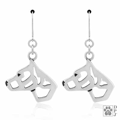 Sterling Silver American Staffordshire Terrier Earrings, Am Staff Earring