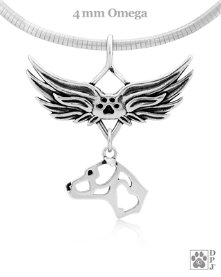 American Staffordshire Terrier Sympathy Gifts, Sterling Silver American Staffordshire Terrier Angel Wing Necklace