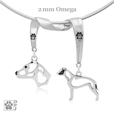 Sterling Silver American Staffordshire Terrier Necklace, High End Am Staff Necklace
