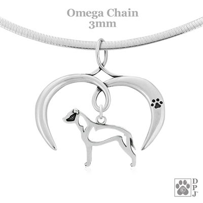 I Love My American Staffordshire Terrier Necklace, Sterling Silver American Staffordshire Terrier Necklace