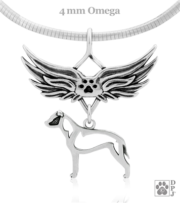 Sterling Silver American Staffordshire Terrier Angel Wing Necklace