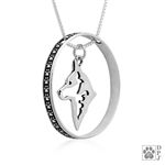 Sterling Silver Australian Cattle Dog Fine Jewelry, Australian Cattle Dog Pendant with Paw Print Enhancer