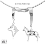 Sterling Silver Australian Cattle Dog Necklace, Sterling Silver Australian Cattle Dog Jewelry, Fine Australian Cattle Dog Jewelry