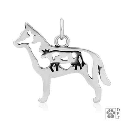 Sterling Silver Australian Cattle Dog Pendant, Australian Cattle Dog Charm, Australian Cattle Dog Necklace
