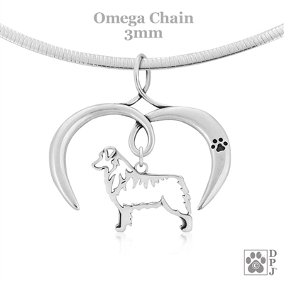 I Love My Australian Shepherd Necklace, Sterling Silver Aussie Necklace, Australian Shepherd Jewelry, Australian Shepherd Pendant