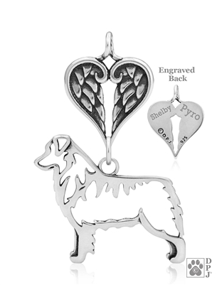 Sterling Silver Australian Shepherd Memorial Jewelry, Sterling Silver Australian Shepherd Necklace, Sterling Silver Australian Shepherd Jewelry, Australian Shepherd Pet Memorial, Australian Shepherd Memorial Gifts, Aussie Sympathy Gifts,