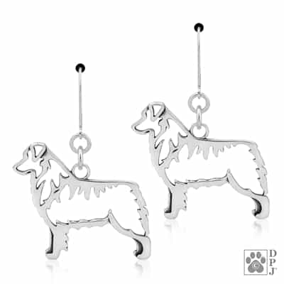 Sterling Silver Australian Shepherd Earrings, Australian Shepherd Earring, Aussie Earring
