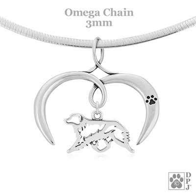 I Love My Aussie Necklace, Sterling Silver Australian Shepherd Necklace