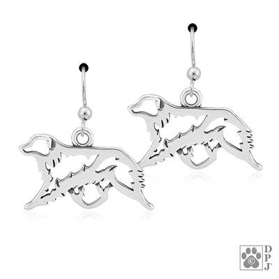 Sterling Silver Australian Shepherd Earrings, Australian Shepherd Earring, Aussie Earring, Australian Shepherd Gaiting, Aussie Gaiting, Aussie Gaiting Earring,