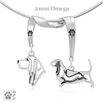 Sterling Silver Basset Hound Necklace, Sterling Silver Basset Hound Jewelry, Sterling Silver Basset Hound Pendant, Sterling Silver Basset Hound Charm, Basset Hound Gifts, Best In Show Jewelry, Grand Champion Jewelry, Dog Show Jewelry, Dog Show Necklace