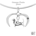 I Love My Basset Hound Necklace, Sterling Silver Basset Hound Necklace