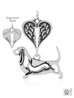 Personalized Basset Hound Angel Wing Necklace, Sterling Silver Basset Hound Memorial Gift, Basset Hound Memorial Pendant Jewelry, Basset Hound Sympathy Gifts