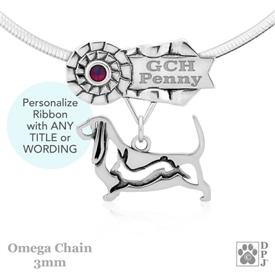 Best In Show Basset Hound Jewelry, Best In Show Basset Hound Pendant, Best In Show Basset Hound Necklace