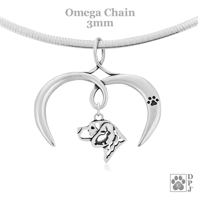 I Love My Beagle Necklace, Sterling Silver Beagle Necklace