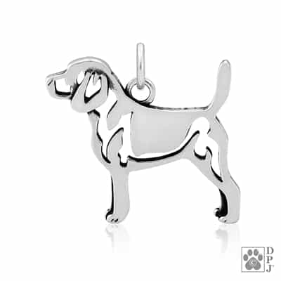 Sterling Silver Beagle Jewelry, Sterling Silver Beagle Charm, Sterling Silver Beagle Pendant, Sterling Silver Beagle Necklace, Beagle Gifts