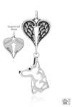 Sterling Silver Belgian Malinois Pendant, Head w/Healing Angels -- new