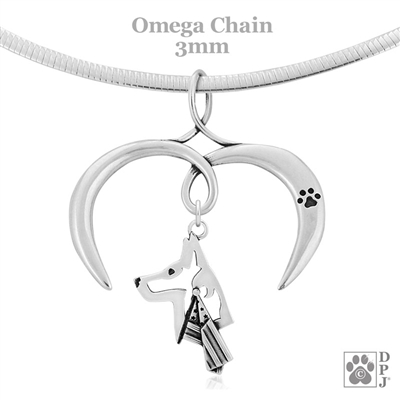I Love My Belgian Malinois Necklace, Sterling Silver Belgian Malinois Necklace
