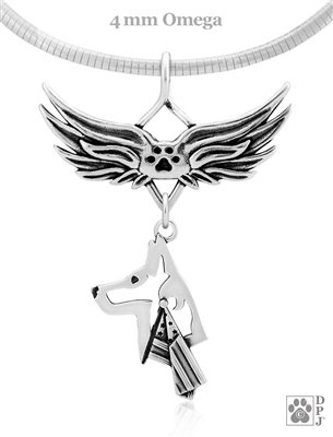 Sterling Silver Belgian Malinois Angel Wing Necklace, Belgian Malinois Patriotic Memorial Pendant, K-9 Unit Handler Gifts, Police Dog Sympathy Gifts, Military Police Dog Gift