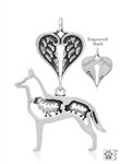 Sterling Silver Belgian Malinois Pendant, w/Sheep in Body w/Healing Angels  -- new