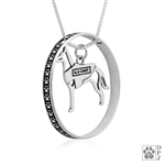Sterling Silver Belgian Malinois Pendant, w/K-9 Unit Vest in Body, w/Colossal Blinger -- new