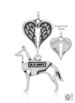 Sterling Silver Belgian Malinois Pendant, w/K-9 Unit Vest, Body w/Healing Angels  -- new