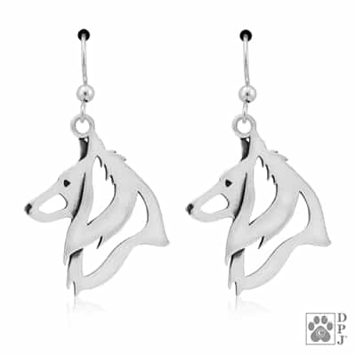 Sterling Silver Belgian Sheepdog Earrings, Sterling Silver Belgian Sheepdog Earring Sterling Silver Belgian Sheepdog Jewelry, Belgian Sheepdog Gifts, Belgian Sheepdog Lovers, Belgian Sheepdog Dog Breed Earrings,