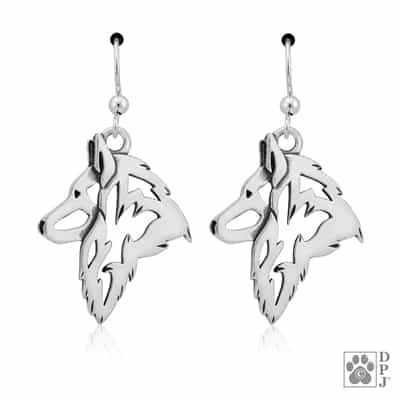 Sterling Silver Belgian Tervuren Earrings, Sterling Silver Belgian Tervuren Earring, Fine Belgian Tervuren Jewelry, Belgian Tervuren Gifts, Dog Breed Earrings, Dog Show Jewelry, Purebred Dog Gifts, Best Dog Gifts, Belgian Tervuren Bling, Dog Jewelry