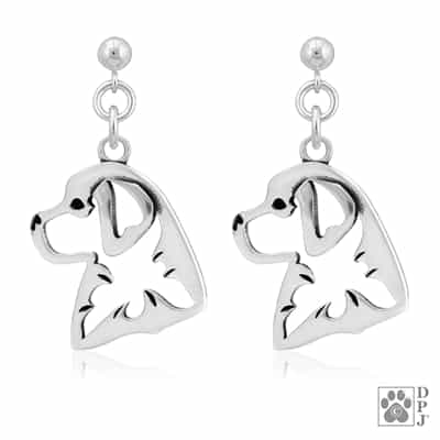 Sterling Silver Bernese Mountain Dog Earrings, Sterling Silver Bernese Mountain Dog Earring,