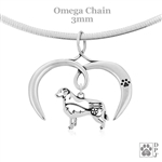 I Love My Bernese Mountain Dog Necklace, Sterling Silver Bernese Mountain Dog Necklace