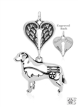 Sterling Silver Bernese Mountain Dog Pendant, w/Cart in Body w/Healing Angels -- new
