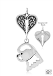 Sterling Silver Bichon Frise Pendant, Head w/Healing Angels -- new
