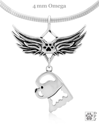 Bichon Frise Angel Wing Necklace, Sterling Silver Bichon Frise Memorial Sympathy Gifts, Bichon Frise Memorial Pendant Jewelry