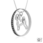 Sterling Silver Bichon Frise Pendant, Body, w/Colossal Blinger -- new