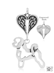 Sterling Silver Bichon Frise Pendant, Body w/Healing Angels -- new