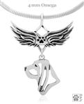 Sterling Silver Angel Wing Bloodhound Necklace, Custom Bloodhound Angel pendant with paw print accent