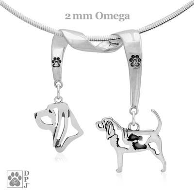 Elegant Bloodhound Necklace with Paw Print Accent, High End Jewelry for Bloodhound Owners