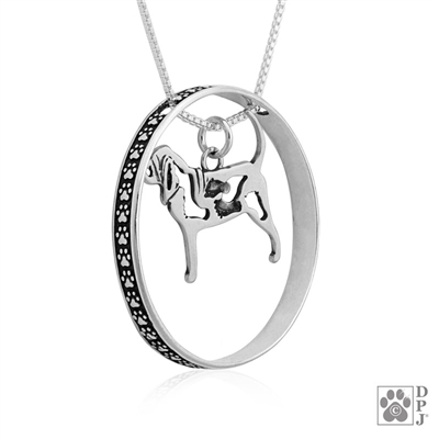 Sterling Silver Bloodhound Necklace with Paw Print Enhancer, Popular jewelry for Bloodhound lovers