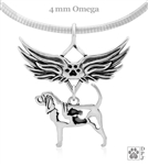 Sterling Silver Bloodhound Angel necklace with Paw Print Accent, Bloodhound Memorial Gift