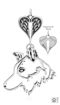 Sterling Silver Custom Angel Charm-holder with Border Collie Pendant, Border Collie Memorial Gift