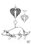 Sterling Silver Border Collie Large Crouch Memorial Jewelry -- new
