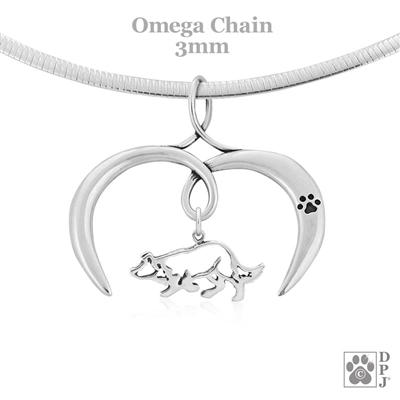 I Love My Border Collie Necklace, Sterling Silver Border Collie Necklace