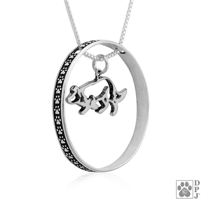 Border Collie Charm centered in a Paw Print Enhancer, Border Collie necklace