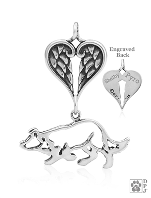 Personalized Angel Wing Pet Memorial Jewelry with a Border Collie Pendant, Border Collie Rainbow Bridge Gift