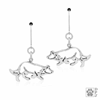 Sterling Silver Border Collie Earrings, Border Collie Accessories