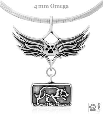 Angel Charm-holder with Paw Print Accent and Border Collie Charm, Border Collie Memorial Jewelry