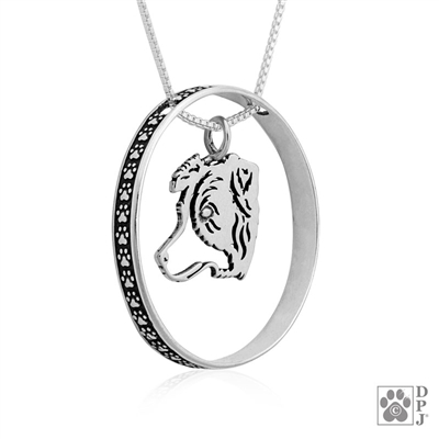 Sterling Silver Border Collie Pendant, Catcher, Head, w/Colossal Blinger -- new