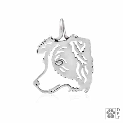 Sterling Silver Border Collie Head Pendant, Border Collie Charm