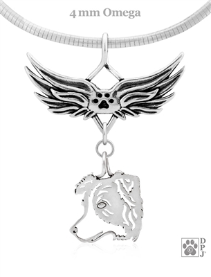 Sterling Silver Border Collie Catcher Pendant, Head, w/Tears In Heaven -- new