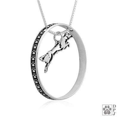 Sterling Silver Fly Like a Border Collie Necklace w/Paw Print Enhancer, Body