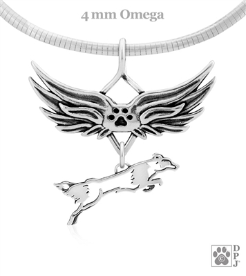 Sterling Silver Fly Like A Border Collie Angel Wing Necklace